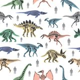 Dnosaurs seletons silhouettes bone animal and jurassic monster predator dino vector flat seamless pattern background. Dnosaurs seletons silhouettes bone animal Royalty Free Stock Images