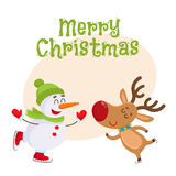 Dnowman in hat and mittens with Christmas reindeer in scarf Royalty Free Stock Images