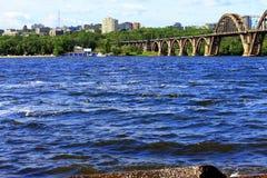 Dnpropetrovsk ucrânia Ponte de Merefo-Kherson Fotos de Stock Royalty Free