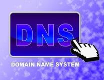 Dns το κουμπί παρουσιάζει κεντρικό υπολογιστή ονόματος περιοχών και χτυπά Στοκ Εικόνες