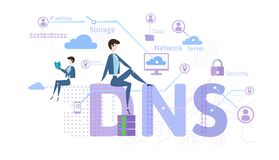 DNS concept, Domain Name System. Decentralized naming system for computers, devices, services, or other resources stock illustration