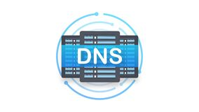 DNS Domain Name System Server. Global communication network. Motion graphics
