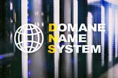Dns - domain name system, server and protocol. Internet and digital technology concept on server room background.  stock image