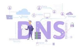 DNS pojęcie, nazwa domeny system Decentralizujący wymieniający system dla komputerów, przyrządów, usługa lub innych zasobów, ilustracja wektor