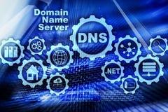 DNS Sistema de nome de dom?nio Uma comunica??o da Web da rede Conceito do Internet e da tecnologia digital ilustração stock