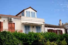 Dołączający domy, Galaxidi nabrzeże, Grecja fotografia royalty free
