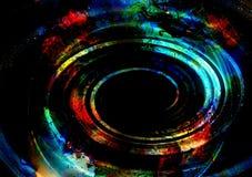Dośrodkowy okrąg kształtuje na abstrakcjonistycznym kolorowym pozaziemskim backgroung ilustracji