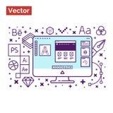 Doświadcza fachowego workspace i narzędzia dla tworzą kreatywnie Zdjęcie Stock