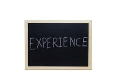 DOŚWIADCZENIE pisać z biel kredą na blackboard Fotografia Stock