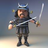 Doświadczony Japoński samuraja wojownik włada dwa katany ostrza, 3d ilustracja ilustracji