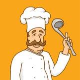 Doświadczony szef kuchni wyjaśnia przepis ilustracji