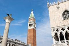 Doże pałac, dzwonnica i kolumna w Wenecja Włochy, Fotografia Stock