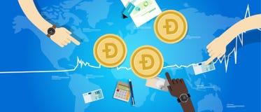 Doży monety wzrosta wekslowej wartości cyfrowej wirtualnej ceny mapy up błękit Zdjęcie Stock
