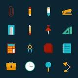 Do ícone liso do projeto dos artigos de papelaria da educação ilustração ajustada Foto de Stock Royalty Free