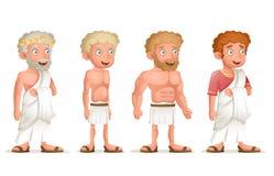 Do ícone novo dos caráteres da tanga da toga de Roman Greek Retro Vintage Old ilustração ajustada do vetor do projeto dos desenho ilustração stock