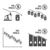 Do óleo gráfico para baixo Grupo do vetor Gota em preço do petróleo Infographics Imagem de Stock