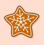 Do alimento cozido doce das sobremesas do vetor do bolo da estrela da cookie do Natal bolos tradicionais para o jantar do Xmas e  ilustração do vetor
