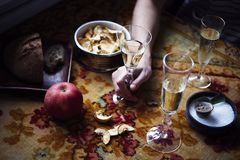 Do almoço de Provencal do estilo vida ainda com champanhe nos vidros na tabela, teste padrão de flor, vegetais sazonais, frutos,  Foto de Stock