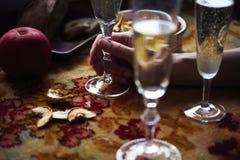Do almoço de Provencal do estilo vida ainda com champanhe nos vidros na tabela, teste padrão de flor, vegetais sazonais, frutos,  Imagem de Stock