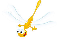 Do amarelo feliz do saco do sorriso da libélula mosca azul imagens de stock