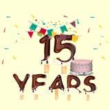 15 do aniversário anos coloridos do cartão do projeto Imagens de Stock Royalty Free