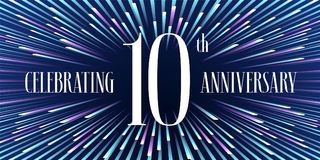 10 do aniversário anos de ícone do vetor, bandeira Imagem de Stock