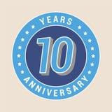 10 do aniversário anos de ícone do vetor, emblema Foto de Stock