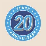 20 do aniversário anos de ícone do vetor, emblema Fotografia de Stock