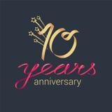 10 do aniversário anos de ícone do vetor, logotipo Imagem de Stock