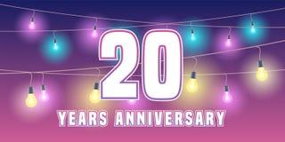 20 do aniversário anos de ícone do vetor, bandeira Foto de Stock Royalty Free