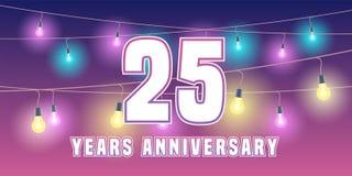 25 do aniversário anos de ícone do vetor, bandeira Fotografia de Stock Royalty Free