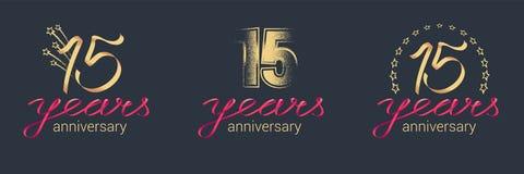 15 do aniversário anos de ícone do vetor, grupo do logotipo Fotografia de Stock