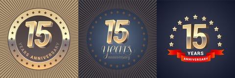 15 do aniversário anos de ícone do vetor, grupo do logotipo Fotografia de Stock Royalty Free