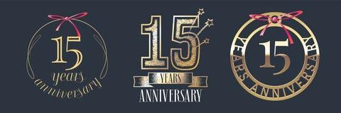 15 do aniversário anos de ícone do vetor, grupo do logotipo Imagem de Stock