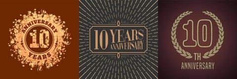 10 do aniversário anos de ícone do vetor, grupo do logotipo Fotos de Stock
