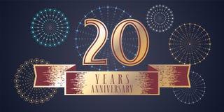 20 do aniversário anos de ícone do vetor, logotipo Fotografia de Stock Royalty Free