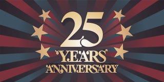 25 do aniversário anos de ícone do vetor, logotipo, bandeira ilustração royalty free