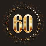 60 do aniversário anos de bandeira do ouro no fundo escuro ilustração royalty free