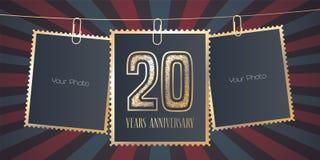 20 do aniversário anos de emblema do vetor, logotipo Imagem de Stock Royalty Free
