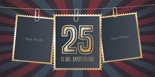 25 do aniversário anos de emblema do vetor, logotipo Fotografia de Stock Royalty Free
