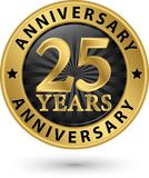 25 do aniversário anos de etiqueta do ouro, ilustração do vetor Fotos de Stock