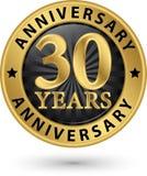 30 do aniversário anos de etiqueta do ouro, ilustração do vetor Fotografia de Stock