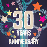 30 do aniversário anos de ilustração do vetor, bandeira, inseto Imagem de Stock Royalty Free