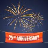 25 do aniversário anos de ilustração do vetor, bandeira, inseto, logotipo Imagens de Stock