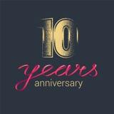 10 do aniversário anos de logotipo do vetor Fotografia de Stock Royalty Free