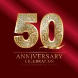 50 do aniversário anos de logotype da celebração a fita vermelha e o ouro do 50th aniversário dos anos balloon no fundo cinzento ilustração do vetor