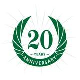 20 do aniversário anos de molde do projeto Projeto elegante do logotipo do aniversário Vinte anos de logotipo ilustração stock