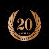 20 do aniversário anos de molde do projeto Projeto elegante do logotipo do aniversário Vinte anos de logotipo ilustração do vetor