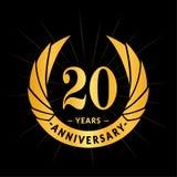 20 do aniversário anos de molde do projeto Projeto elegante do logotipo do aniversário Vinte anos de logotipo ilustração royalty free