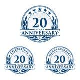 20 do aniversário anos de molde do projeto Vetor e ilustração do aniversário 20o logotipo ilustração do vetor